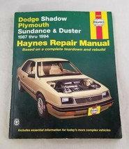 Haynes Auto Repair Manual Dodge Shadow Plymouth Sundance Duster Book 1987-1994 - $17.75