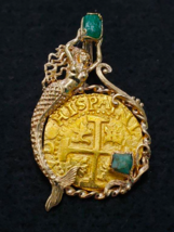 PERU 1715 FLEET EMERALDS 8 ESCUDOS PENDANT NECKLACE JEWELRY PIRATE GOLD ... - $18,250.00