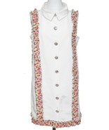CHANEL Dress White Sleeveless Multicolor Floral Silver HW Collar 42 RUNW... - $1,543.75