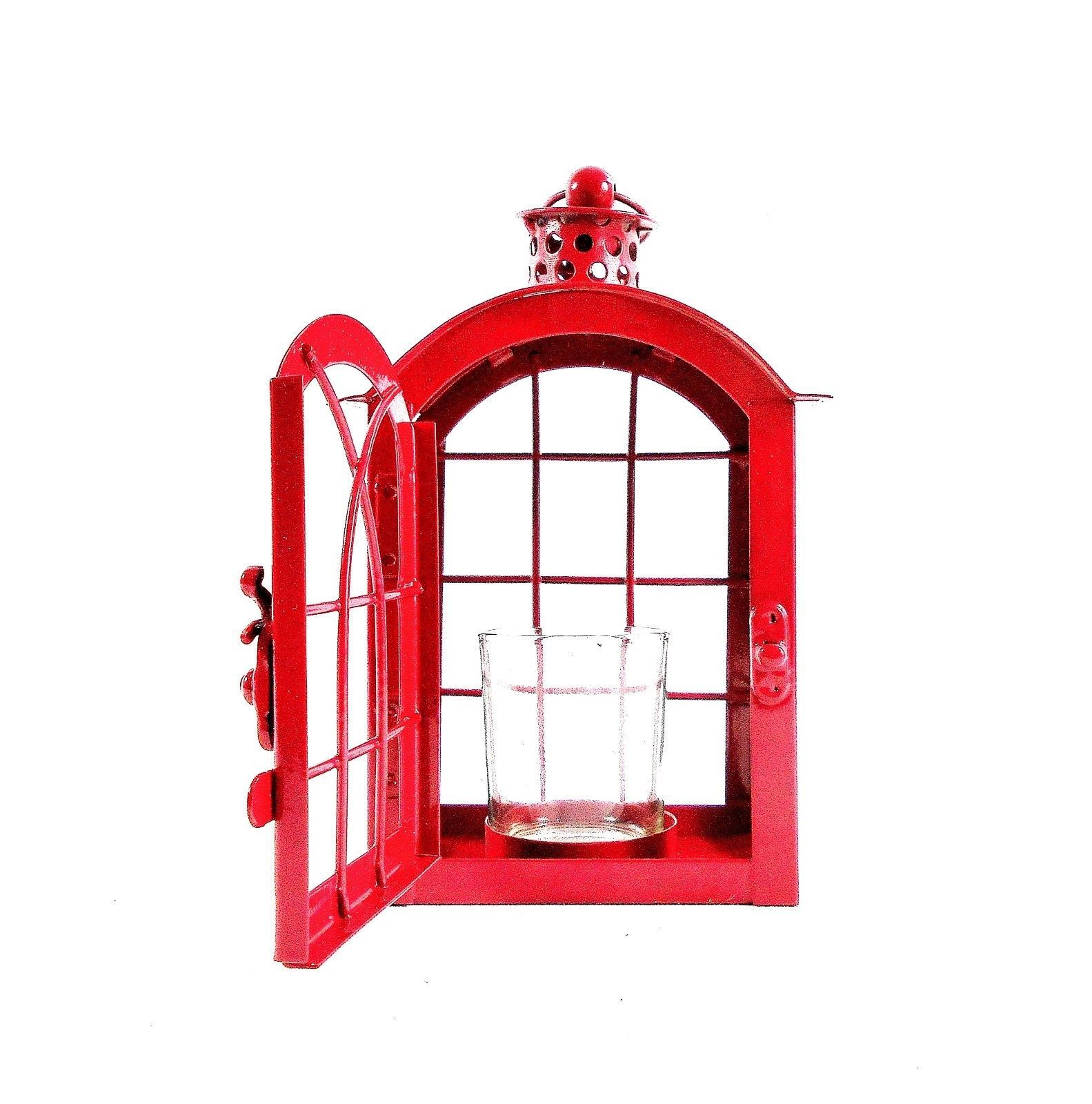 Red Metal Votive Candle Lantern w/Glass Candle Cup - Boho-Chic Candle Lantern image 8