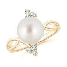 Solitaire Cultured South Sea White Pearl Ring with Trio Diamond 14k Yell... - $533.71+