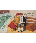 Elderly Lovers On Boat Cruise Ship Two Hearts That Beat As One Antique P... - $7.49