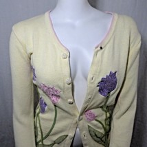 Storybook Knits S Cardigan Sweater Yellow Transitional Tulips Pink Purple - $41.55