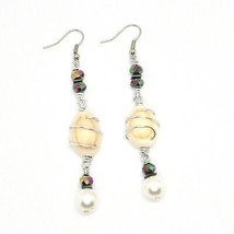 Earrings the Aluminium Long 8 cm with Shells Hematite & Faux Pearl image 2