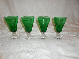 """4 Anchor Hocking Forest Green Inspiration (Burple) 5"""" Footed Wine Glasses - $23.75"""
