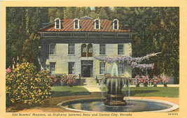 Linen Postcard NV C123 Old Bowers Mansion Between Reno and Carson City NEV - $7.00