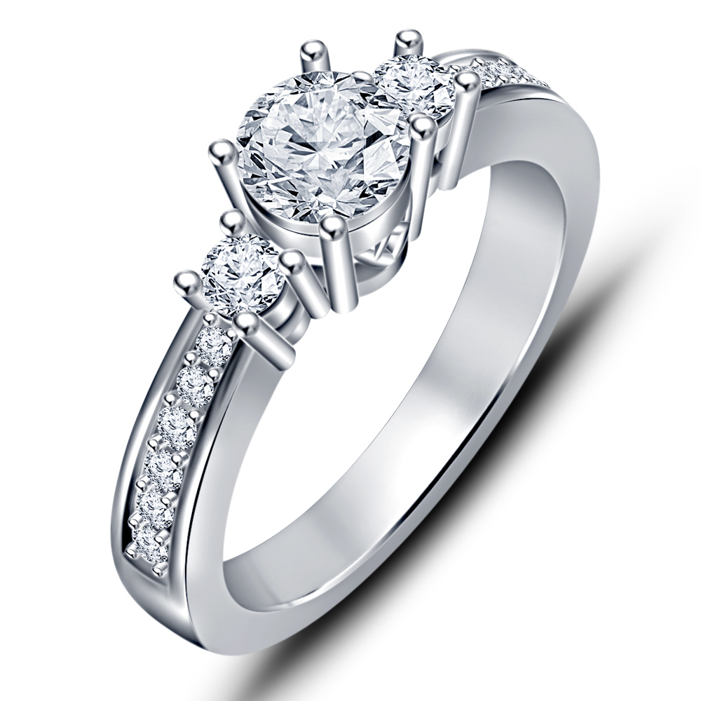Primary image for White Sim Diamond 14k White Gold Plated Engagement & Wedding Ring Free Shipping
