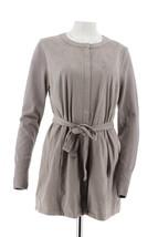 H Halston Faux Suede Jacket Sweater Knit Slvs Zip Flint Grey 18W NEW A28... - $52.81
