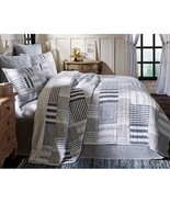 Farmhouse FINN LUXURY KING QUILT Country Primitive Rustic Blue White Ame... - £144.03 GBP