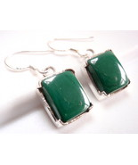 Four-Pronged Malachite Rectangle Earrings 925 Sterling Silver Dangle New - $21.73