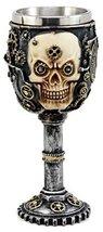Ebros Gift Silver Steampunk Mechanical Gearwork Skull Face Wine Goblet D... - $18.76