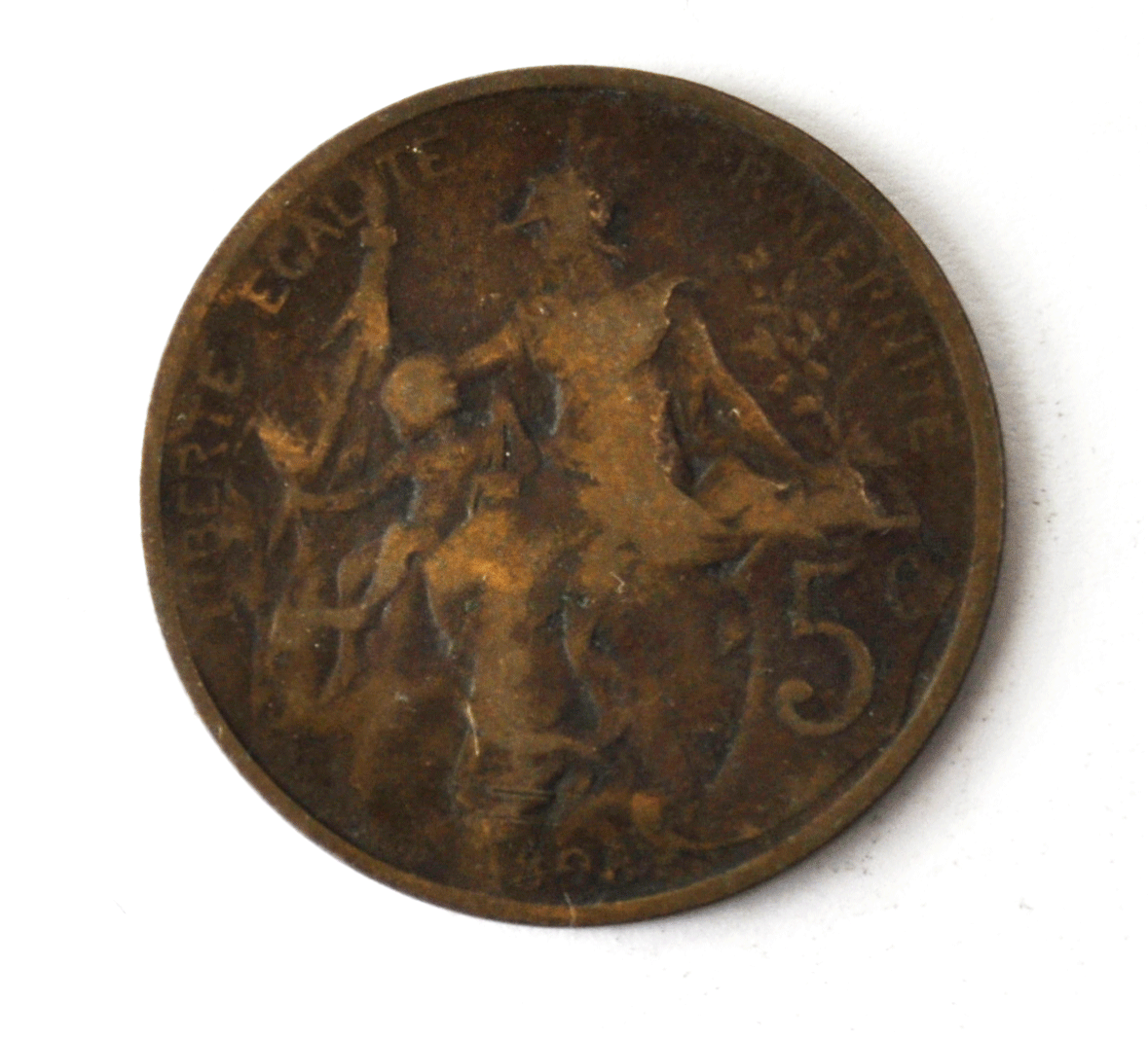 1898 France 5 Five Centimes KM# 842 Bronze Coin