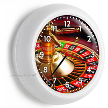 C ASIN O Roulette Table Wheel Wall Clock Play Game Room Home Man Cave Office Decor - $23.37