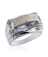 1.25 Carat Mens Princess Cut Yellow and White Diamond Ring 14K White Gold - $1,960.19