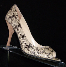 Enzo Angiolini 'Maylie' snake print leather peep toe pump shoe heel 7.5M - $19.75