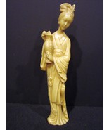 Japanese Woman Figure Carved Ivory Tone Statue Signed - $115.00