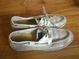 SPERRY TOPSIDER BAHAMA VANILLA SEQUINS 2-EYE BOAT SHOES 9M - $9.89