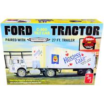 Skill 3 Model Kit Ford C-900 Truck with Trailmobile Trailer Hostess 1/25... - $82.23