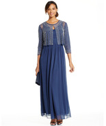 Patra Navy/Midnight New Full Length V-Neck Gown With Embellished Jacket ... - $69.29