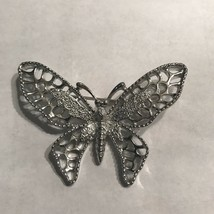 Vintage Sarah Coventry Signed Silvertone Filigree Butterfly Brooch Pin J... - $14.24