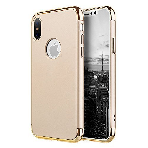 iPhone X case Rubberized Griptech 3-Piece with Chrome Frame - Gold