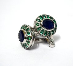 925 Sterling Silver Natural Fine Quality Blue Sapphire And Emerald Gemstone Arti image 3
