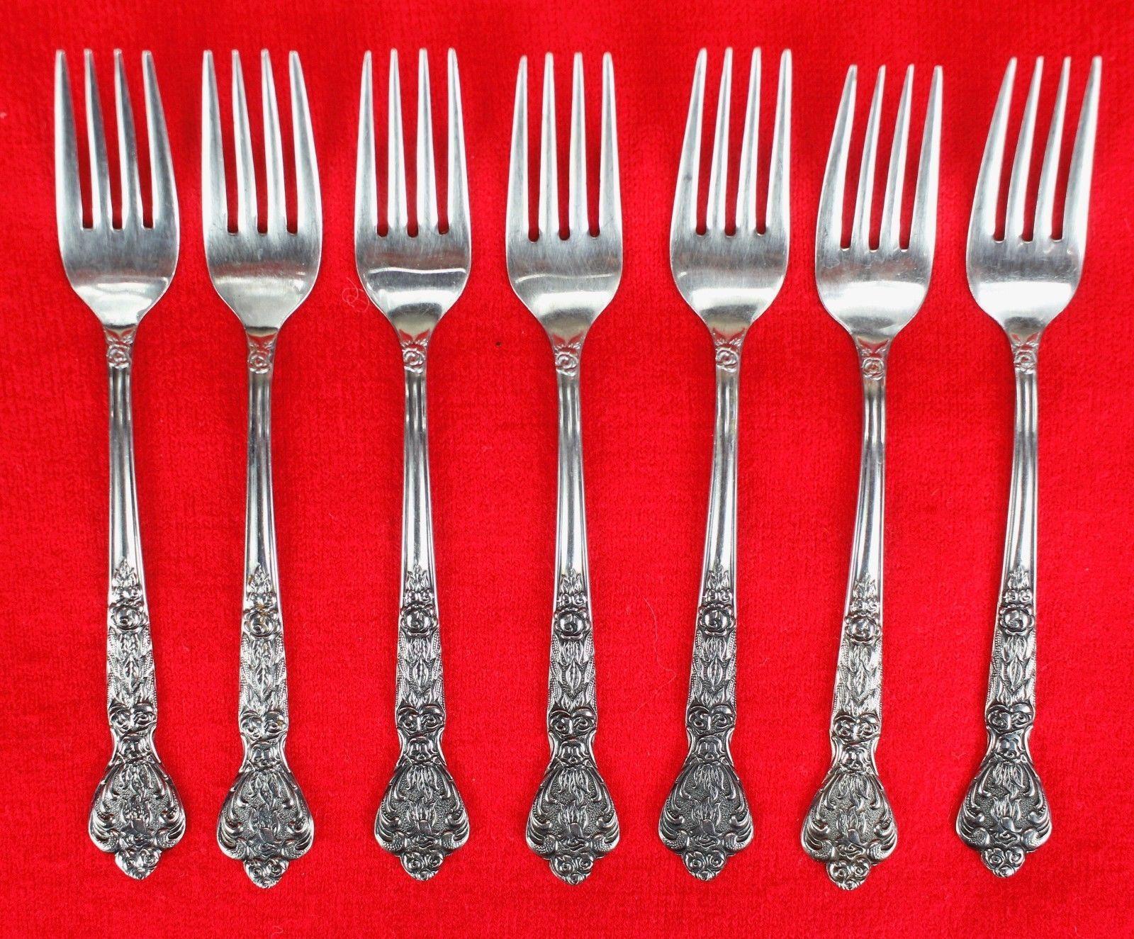 7X Salad Dessert Forks Merchandise Service Versailles Stainless Glossy Flatware