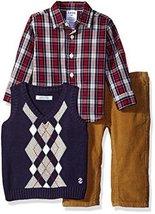 Izod Baby Long Sleeve Argyle Vest Sweater Set, Night, 18 Months