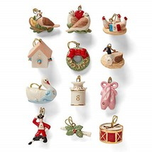 Lenox 12 Days Of Christmas Miniature Tree Ornaments Set Twelve Lords Swa... - $70.00