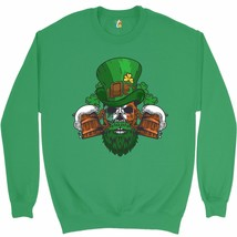 Leprechaun Skull Beer Mugs Sweatshirt Irish Flag St. Patrick's Day Crewneck - $20.73+