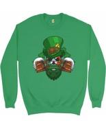 Leprechaun Skull Beer Mugs Sweatshirt Irish Flag St. Patrick's Day Crewneck - $20.73+