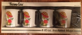 Vtg New Set of 4 1970s Sears Merry Mushroom Thermo Serv Plastic Mugs Cup... - $25.00