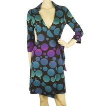 DVF Diane Von Furstenberg Justin Collar Wrap Blue Silk Jersey Dress Bubbles Sz 6 - $123.75