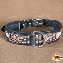 Hilason Heavy Duty Genuine Leather Dog Collar Floral Carving Dark Brown ... - $27.99