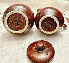 Vintage McCoy Pottery Brown Drip Glaze Creamer and Covered Sugar Bowl Set 7020 image 4