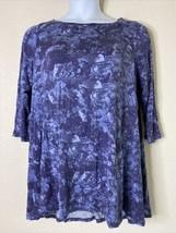 LOGO Lori Goldstein Womens Plus Size 1X Blue Marble Swing Tunic 3/4 Sleeve - $21.78