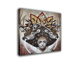 "Fantasy Art Oil Painting Print On Canvas Modern Decor""Girl Hair Deer"" Fr... - $17.67+"