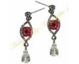 Evil Eye Teardrop Dangle Earrings Blood Red Gray Crystal Vampire Halloween