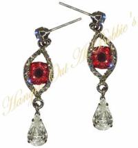 Evil Eye Teardrop Dangle Earrings Blood Red Gray Crystal Vampire Halloween - $24.99