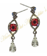 Evil Eye Teardrop Dangle Earrings Blood Red Gray Crystal Vampire Halloween - $24.99