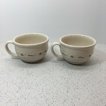 Longaberger Pottery Woven Traditions Set Of 2 Soup Mugs Rare, Blue - $59.40