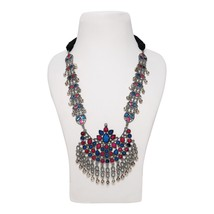 Afghani Ethnic Tribal Blue & Pink Pendant Broad Long Chain Silver Beads ... - $25.15