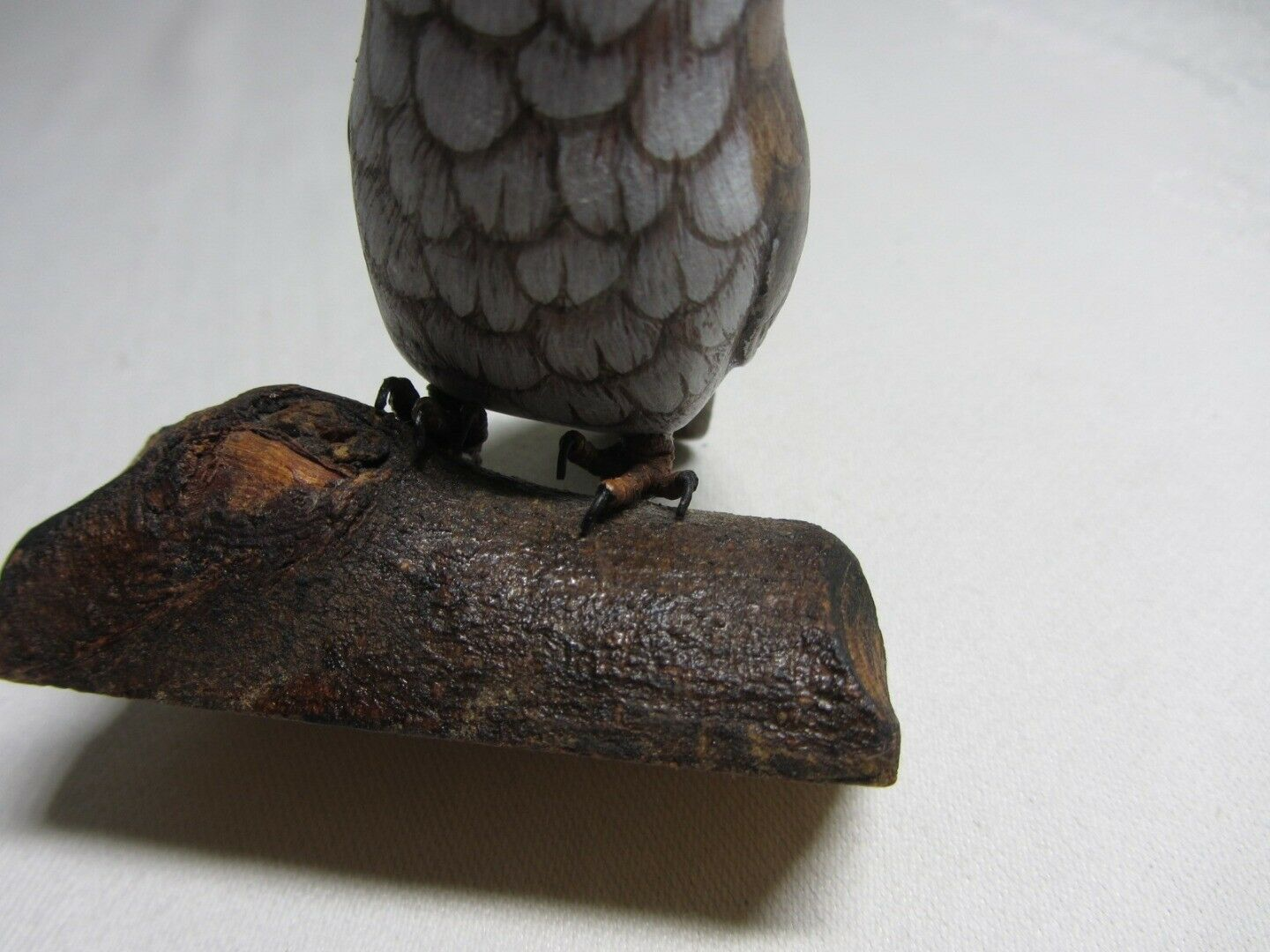 Carylle's Carved Wood Owl on Branch Figurine Signed Vintage Hand Painted