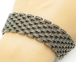 925 Silver - Vintage Marcasite Brick Layer Style Wide Chain Bracelet - B... - $173.09