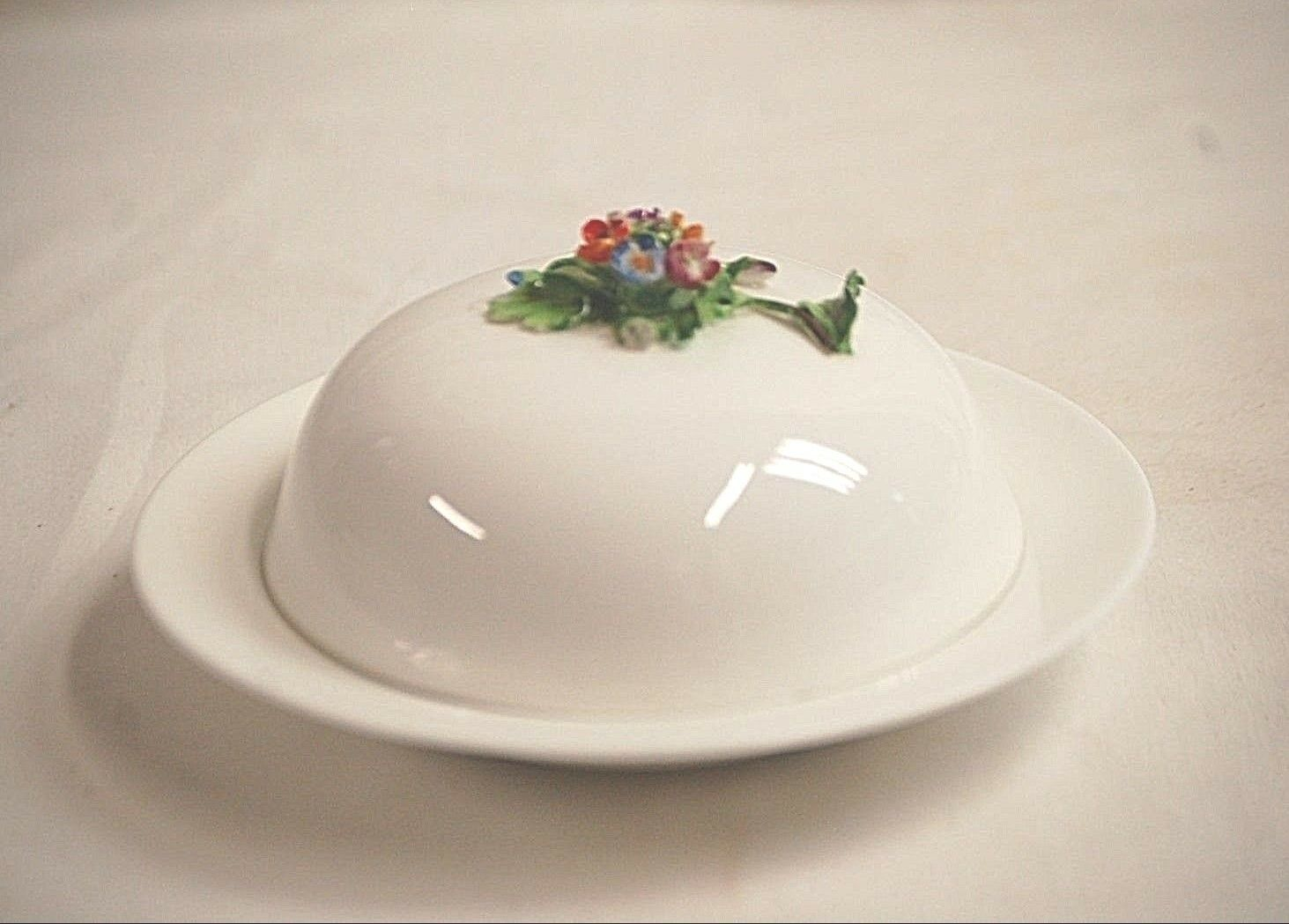 Primary image for Staffordshire England Fine Bone China Round Covered Butter Dish w Floral Center