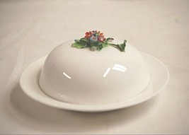 Staffordshire England Fine Bone China Round Covered Butter Dish w Floral Center - $26.72