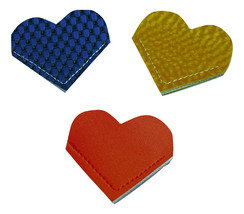 Heart Bookmark Vinyl Check Blue Shimmer Yellow Tangerine Set Corner Book... - $5.00