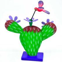 Handmade Alebrijes Oaxacan Painted Wood Folk Art Flowering Prickly Pear Cactus image 4