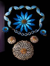 1950s lot - Coro Necklace - BIG flower brooch & earrings - enamel HUGE b... - $165.00