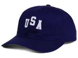 Official Brand USA Logo Blue Adjustable Relaxed Fit Baseball Cap Dad Hat - £12.82 GBP